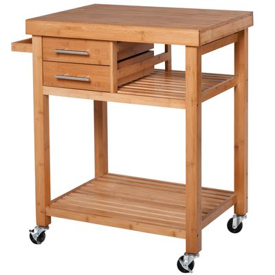 HOMCOM Distressed Bamboo Rolling Kitchen Island Trolley with Drawers & Shelves