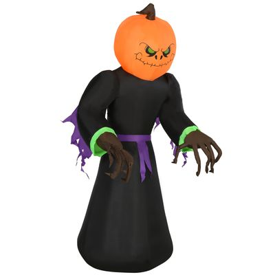 HOMCOM 6.9ft Tall Inflatable Halloween Pumpkin Reaper Light Up Yard Decoration with  LED Lights and Fan