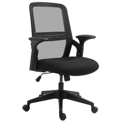 Vinsetto Home Office Chair with Armrest Breathable Mesh Swivel Computer Chair Adjustable Lumbar Support & Height PU Wheels Black