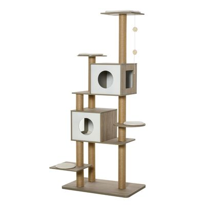 """PawHut 69.75"""" Cat Tree Condo Tower Kittens Activity Stand House with Hanging Toy Ball with Scratching Posts for Small Cats, Light Grey"""