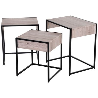 HOMCOM MDF 3 PCs Nesting Table End Table  Nightstand w/ Drawer Water-resistant