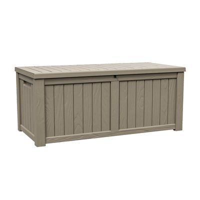 """Outsunny Plastic Deck Storage Container Box Outdoor Garden Bench Patio Furniture 77 Gal with Handles, Padlock Eyes, Grey, 56"""" x 26"""" x 24"""""""