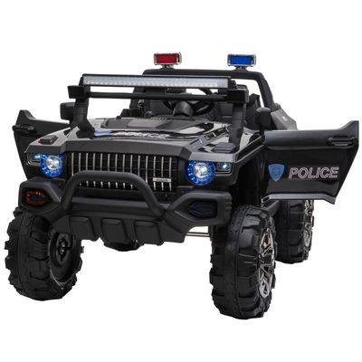 Aosom 12V Ride On Police Car 2 Seater For 3 - 8 Years Old Kids W/ Parental Remote Control Led Lights Mp3 Black