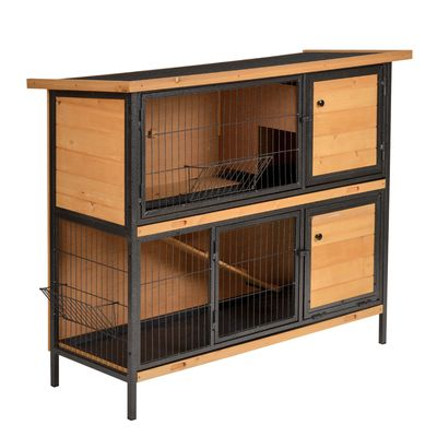 """PawHut 48"""" 2-Floor Large Rabbit Hutch Wooden Pet House Metal Frame Bunny Cage Small Animal Habitat with Ramp Feeding Trough Lockable Doors Run Area Asphalt Roof for Outdoor Use"""