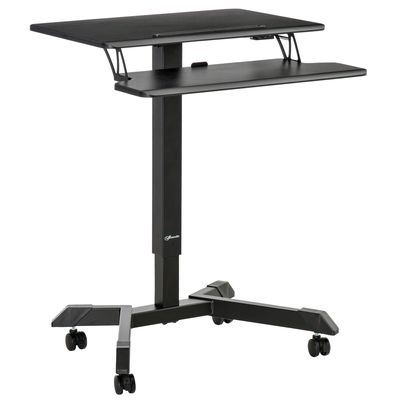 Vinsetto Height Adjustable Standing Desk Sit Stand Desk 2 Tier  Rolling Table Home Office Workstation with Keyboard Tray Lockable Casters iPad Groove  Black