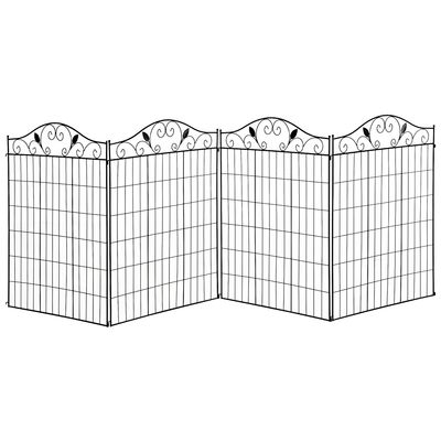 Outsunny Garden Decorative Fence 4 Panels 44in x 12ft Steel Wire Border Edging for Landscaping