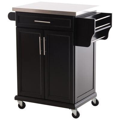 HOMCOM Wood Kitchen Island Cart Storage Box Cabinet  Drawer Trolley w/ Stainless Steel