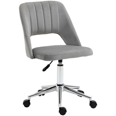 Vinsetto Mid Back Office Chair Velvet Fabric Swivel Scallop Shape Computer Desk Chair, Grey