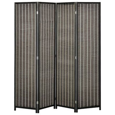 HOMCOM 4-Panel Bamboo Room Divider, 6 Ft Tall Folding Privacy Screen Panels with 2 Shelves for Indoor Bedroom Office Natural