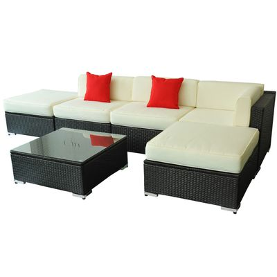 Outsunny 6pcs All-weather Rattan Sofa Wicker Sectional Patio Furniture Set Deluxe Outdoor