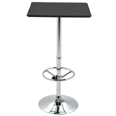 HOMCOM Square Pub Table Counter Bar Table with Faux Leather Tabletop and Adjustable Footrest for Living Room, Kitchen