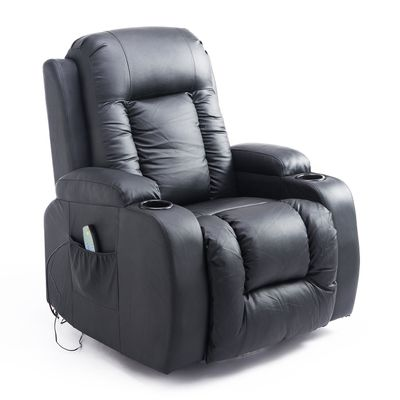 HOMCOM Faux Leather Vibrating Massage Recliner Chair with Remote Black (No Heat)