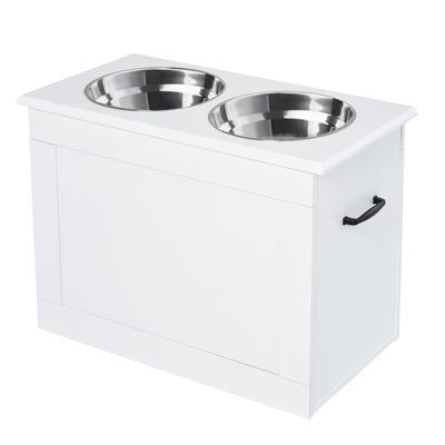 PawHut Large Elevated Pet Feeder with Storage Dog Pet Diner Function 2 Stainless Steel Dog Bowls Elevated Base for Large Dogs and Other Large Pet, Dark White