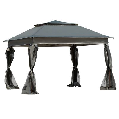 Outsunny 11x11ft Pop Up Gazebo Canopy Outdoor  Party Tent Dual-Tiered Gazebo with Mosquito Netting and Carrying Bag Grey