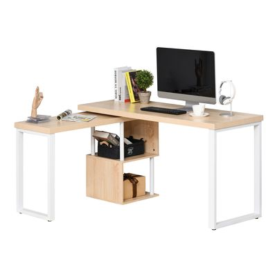 HOMCOM 360° Rotating Corner Desk L-Shaped PC Workstation Student Writing Table with Storage Shelf Home Office Oak Tone