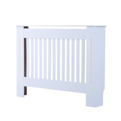"""HOMCOM 44"""" Radiator Cover Painted Slatted MDF Cabinet Lined Grill White"""