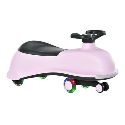 Qaba Ride on Wiggle Car w/LED Flashing Wheels, Swing Car for Toddlers, No Batteries, Gears or Pedals - Twist, Turn, Wiggle Movement to Steer, for 18- 48 months dolphin shaped Pink+Black