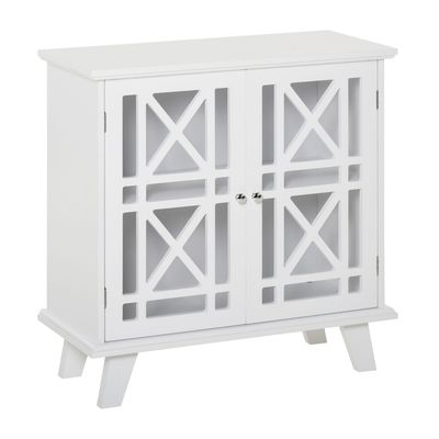HOMCOM Accent Storage Cabinet Sideboard Serving Buffet Console with Fretwork Doors for Entryway, Kitchen, Dining Area, Living Room, White