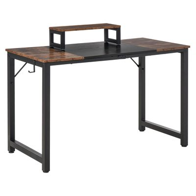 HOMCOM Industrial Style Computer Desk, Home Office Writing Desk, PC Laptop Workstation with Raised Monitor Stand, Side Hook, Adjutable Feet, Rustic Brown and Black