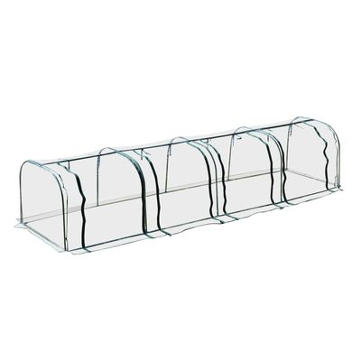 Outsunny 13'Lx3.25'Wx2.5'H Transparent PVC Tunnel Greenhouse Planting Grow Box Portable Warm Shed Steel