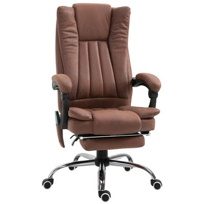 Vinsetto Vibration Massage Chair Faux Leather Recliner with Retractable Footrest Brown