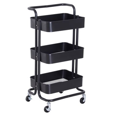 HOMCOM 3-Tier Rolling Cart All Purpose Utility Cart Storage Cart Trolley on Wheels with Basket Black
