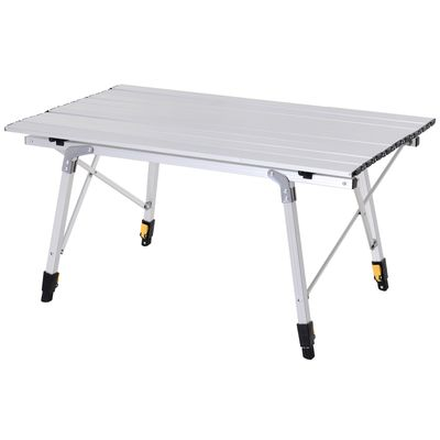 Outsunny Aluminum Foldable Camping Table Portable Lightweight Roll-up Picnic Table with Adjustable Height Design