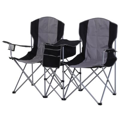 Outsunny 2 Person Folding Camping Chair Oxford Metal Fishing w/ Ice Bag  Cup Holder Black