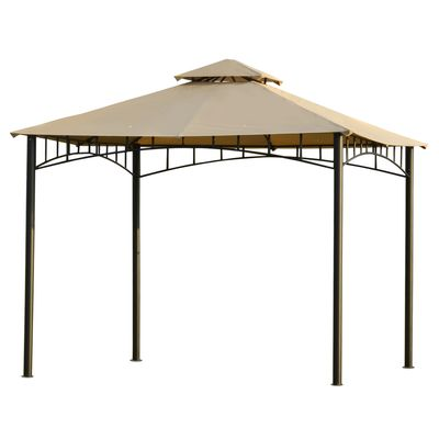 Outsunny 10' x 10' Gazebo Canopy Party Tent Garden Pavilion Patio Shelter Outdoor with Double Tiered Roof, Steel Frame, Beige
