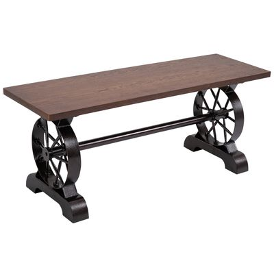 HOMCOM Armless Rustic Dining Table bench Leisure chair with metal Wheel Indoor Outdoor