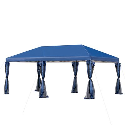 Outsunny 20' x 8' Outdoor Pop-Up Party Tent Canopy Gazebo with Mesh Sidewalls, 3-Level Adjustable Height, Handy Bag, Blue