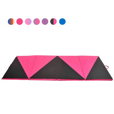 Soozier 4'×10'×2'' Folding Gym Exercise Mats Gymnastics Home Aerobics Stretching Yoga Mat Pink / Black Triangle Pattern