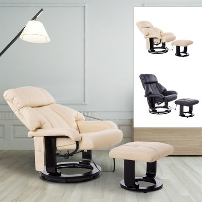 HOMCOM Massage Recliner Ottoman Set Electronic Reclining Chair with Footrest 10 Vibration Motor Swivel Wood Base