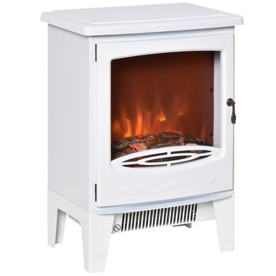 HOMCOM Electric Fireplace Stove, Free standing Fireplace Heater with Realistic Flame Effect, Overheat Safety Protection, 750W/1500W, White