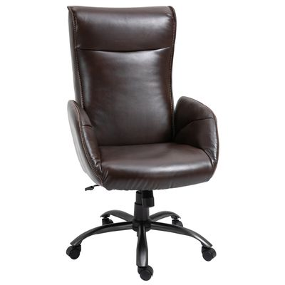 Vinsetto Office Chair Breathable Faux Leather High-Back Rocker Swivel Computer Executive Desk Chair with Wheels  Steel Base  Brown