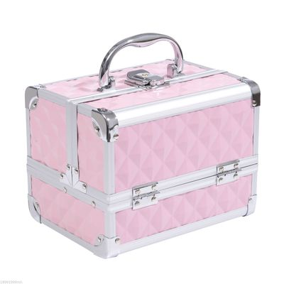 HOMCOM 3 Tier Diamond Texture Makeup Train Case Cosmetic Organizer with Mirror, Pink