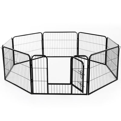 PawHut DIY 8 Panel Heavy Duty Powder Coated Metal Dog Pet Playpen Exercise Fence 24""