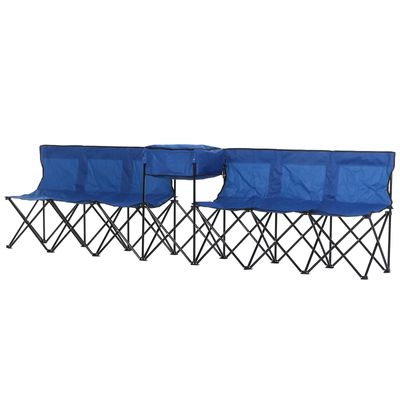 Outsunny 6-Person Folding Camping Bench Chair Sport Seat Folding Cooler Bag w/ Carrying Case