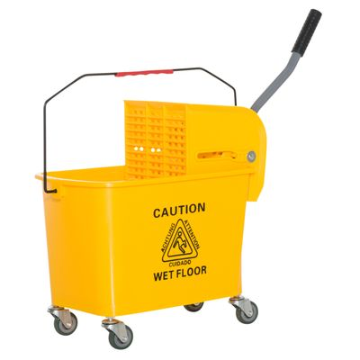 HOMCOM 5 Gallon Mini Press Mop Bucket with Wringer 20L Rolling Cart Yellow