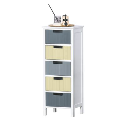 HOMCOM 5-Drawer Dresser Tower Storage Cabinet Chest of Drawers for Hallway, Living Room and Bathroom