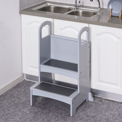 Qaba Step Stool with 2 Steps and Support Handles Kitchen Helper Kids Footstool