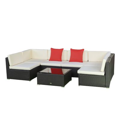 Outsunny 7 Pieces Garden Wicker Sectional Sofa Set Patio Outdoor Furniture All Weather with Cushion, Beige