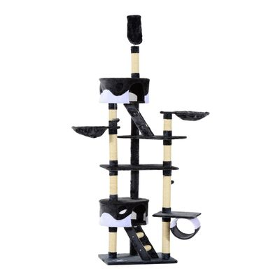"""PawHut 94""""-102"""" Huge Cat Tree Ceiling High Cat Condo Scratching Post Activity Center Multi-Level Play House White"""