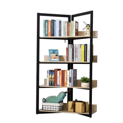 HOMCOM 4-Tier Bookshelf Storage Multifunctional Plant Display Corner Shelf Oak Color & Black