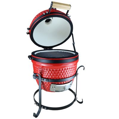 Outsunny Charcoal Grill Cast Iron BBQ Picnic Cooking Smoker Standing Heat Control Red