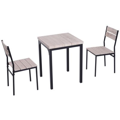 HOMCOM 3pcs Kitchen Dining Table and Chairs Set