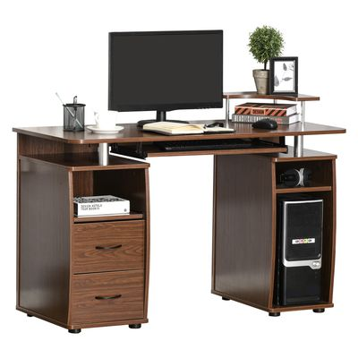 HOMCOM Computer Office Desk PC Table Workstation with  Keyboard Tray  CPU Shelf  Drawers  Sliding Scanner Shelf  Walnut Brown