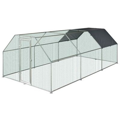 PawHut Large Metal Walk-In Chicken Coop Run Cage Outdoor Cover