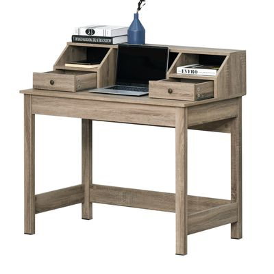 HOMCOM Rectangle Computer Desk with Display Shelves  Drawers Home Office Table Workstation  Natural Wood Grain