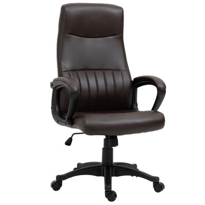 Vinsetto High Back Office Chair Swivel Executive PVC Leather Ergonomic Chair, Adjustable Height, Brown